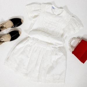 Lace smock dress with collar and lace bib vintage